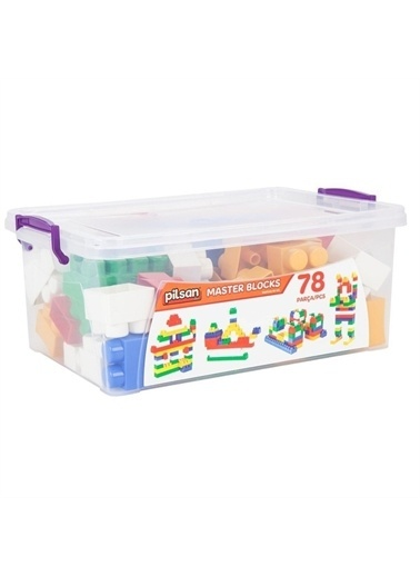 Pilsan Pilsan Master Bloklar 78 Parça Eğitici Lego Çocuk Oyuncağı Yapboz Renkli